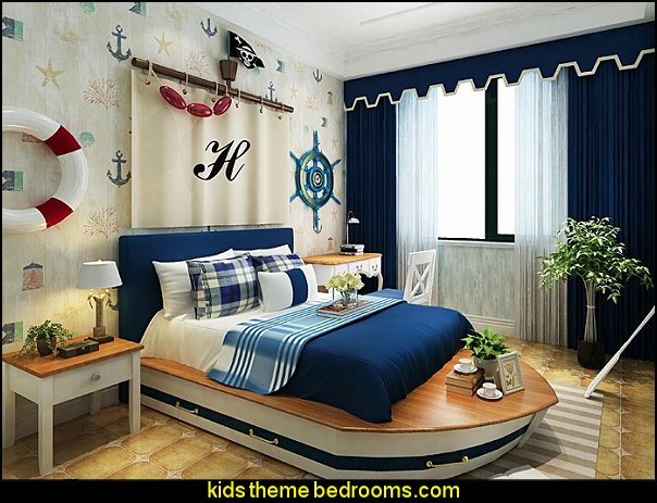 children's room wallpaper boat bed  nautical bedroom ideas - decorating nautical style bedrooms - nautical decor - sailing ship theme - coastal seaside beach theme - boat beds - beach house decorating - Travelers and seafarers - nautical bedding - nautical bedroom furniture