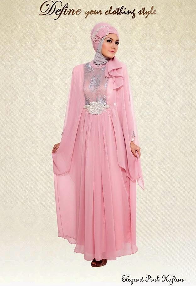 Gambar Desain Baju Muslim Kaftan pesta