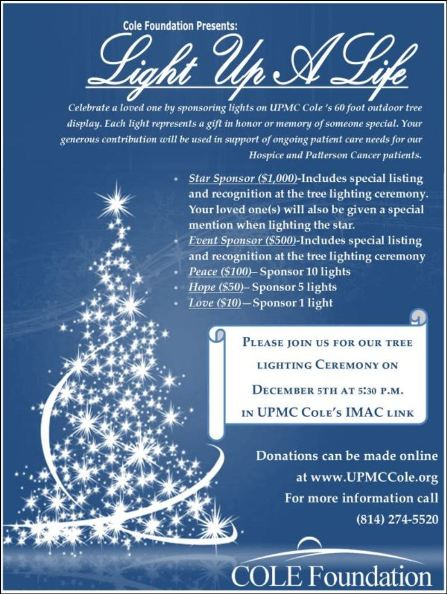"12-5 Cole Foundation ""Light Up A Life"" Event"