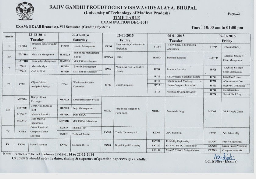 RGPV Time Table | BE BTech BPharma Time Table | RGPV 1st 2nd