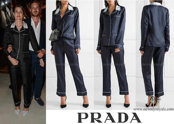 Charlotte Casiraghi wore  Prada Embellished Silk-twill Pajama Set