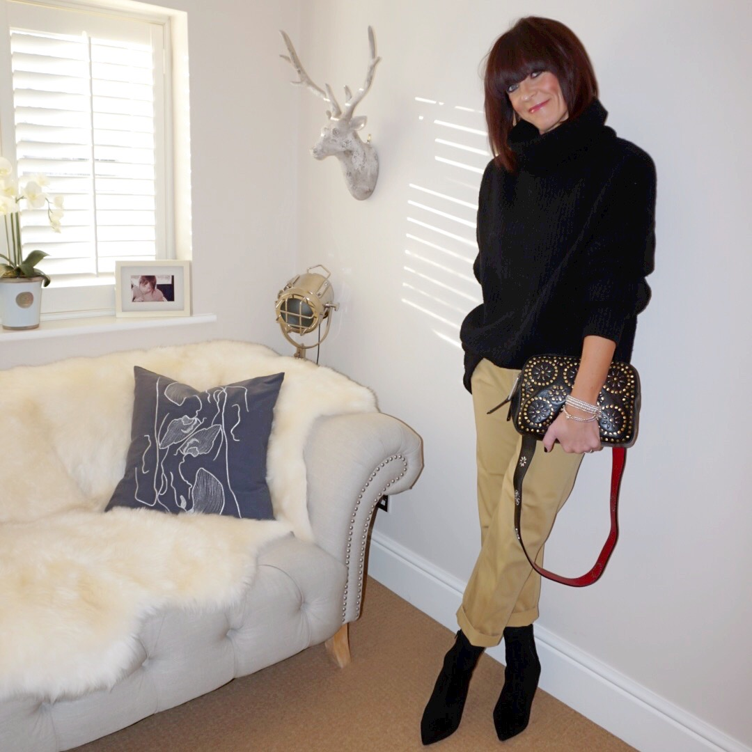 my midlife fashion, zara over sized roll neck sweater, j crew boyfriend chinos, village england pemberton cross body studded bag, marks and spencer stiletto heel side zip ankle boots