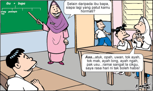 Image result for kartun cikgu kelakar peribahasa
