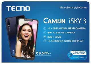Tecno launch camon iSky 3