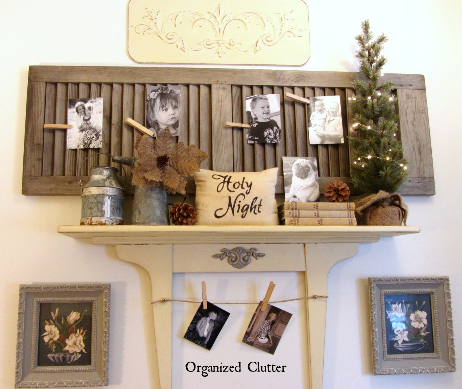 Shutter Photo Holder & Re-purposed Dresser Mirror Shelf www.organizedclutterqueen.blogspot.com