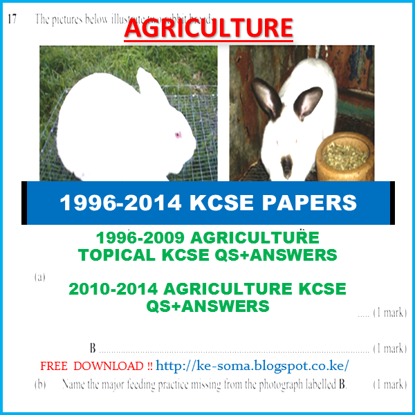 1996-2014 KCSE AGRICULTURE QUESTIONS & ANSWERS | SOMA CO KE