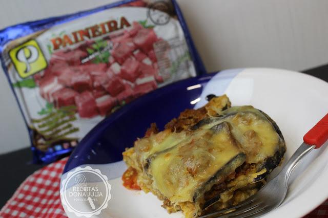 """Lasanha de berinjela com carne seca"""