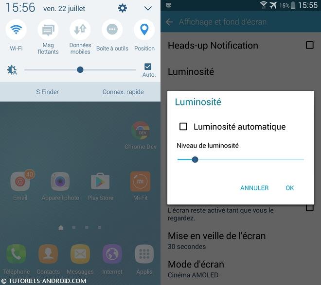 Android : ajuster le niveau de luminosité