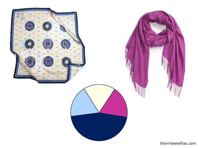 Two scarves and a color scheme wheel, in navy, ivory and hot pink