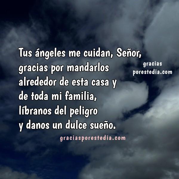Oración de buenas noches, gracias a Dios porque me cuidas en la noche, imagen con oración corta por Mery Bracho.