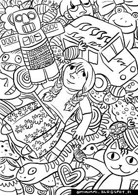 A coloring page of dolls and toys / Värityskuva nukeista ja leluista