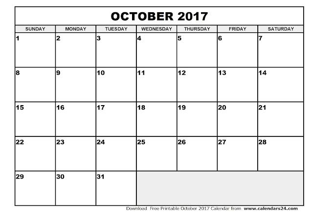 October 2017 Calendar, October 2017 Calendar Printable, October 2017 Calendar Template, Printable October 2017 Calendar, October Calendar 2017, Calendar October 2017