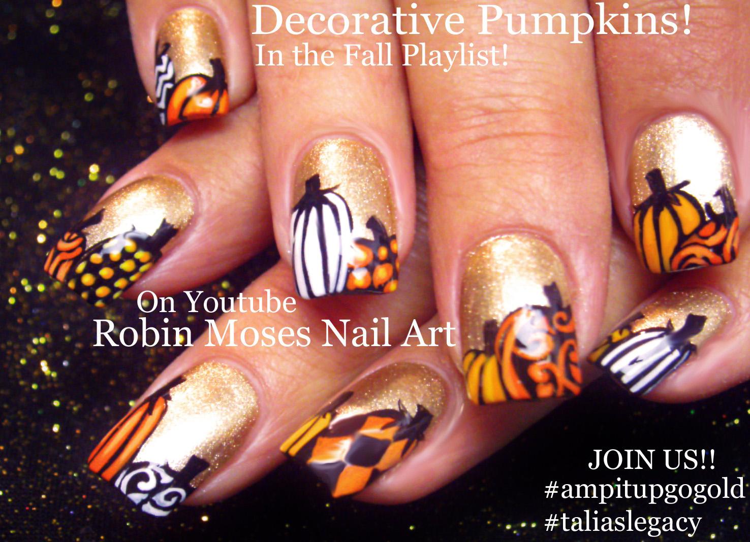 Nail Art by Robin Moses: Nail art: Cute Fall Pumpkins!!!! \