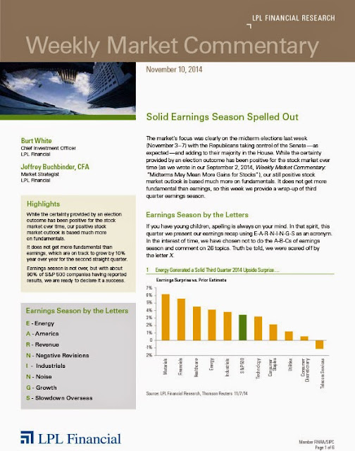 November 10, 2014 - LPL Financial Weekly Market Commentary from Legacy Wealth Planning