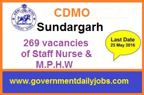 CDMO SUNDARGARH RECRUITMENT 2016 APPLY FOR 269 STAFF NURSE & OTHER