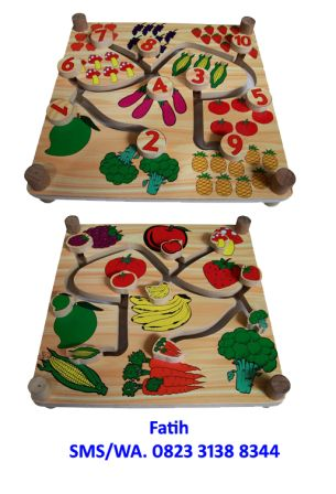Mainan Kayu Maze Buah Sayur 2 in 1