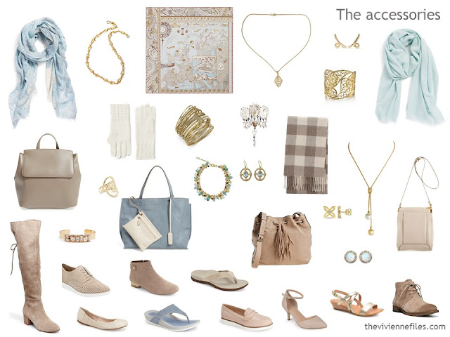 an accessory capsule wardrobe in beige and soft blue