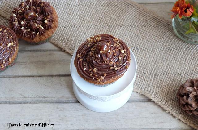 Cupcakes à la noisette et glaçage à la pâte à tartiner choco-noisette