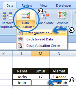 Data Validation pada MS. office excel