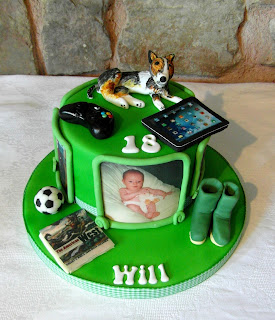 football, dogs wellies cake