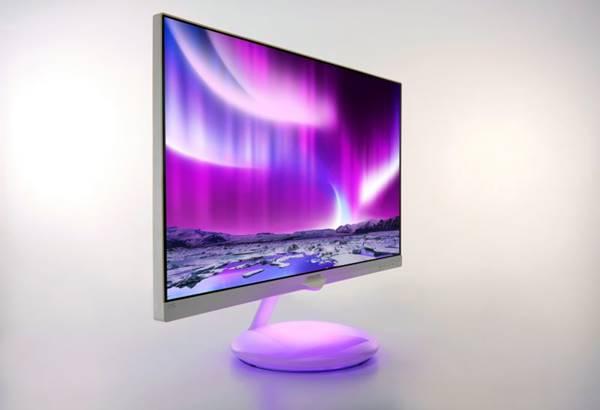 O monitor Philips Moda Ambiglow de 27 polegadas é um recurso que permite que a base do monitor fique da mesma cor da tela, efeito valoriza a estética do ambiente