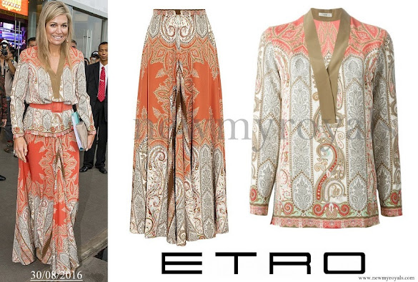 Queen Maxima wore Etro Multicolor Paisley Printed Skirt and Blouse
