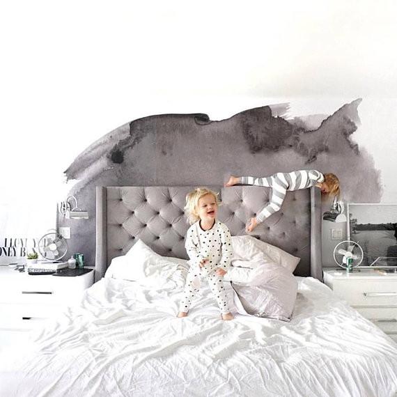 pintar wallpaper watercolor grey decoración habitación