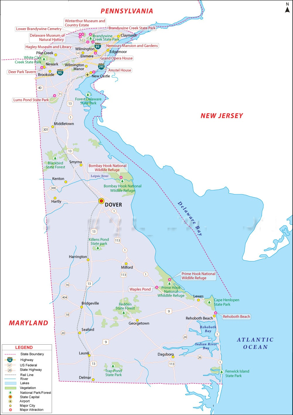 Map Of Delaware  State Map Of USA