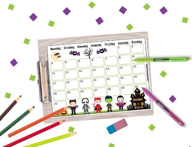 Oktober maandkalender, halloween kalender, kalender voor kinderen, kalender met pompoenen, kalender voor school, schoolkalender, aftelkalender, halloween aftelkalender, spookhuis kalender