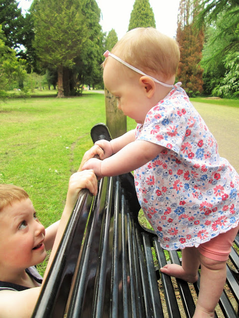 Project 365 - D and Baby S playing hide and seek on the bench