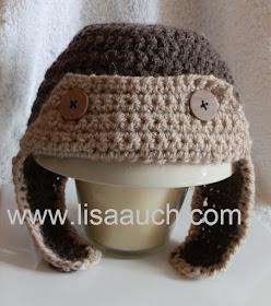 Free Crochet Aviator Hat Pattern -Crochet Baby Hat pattern for boys
