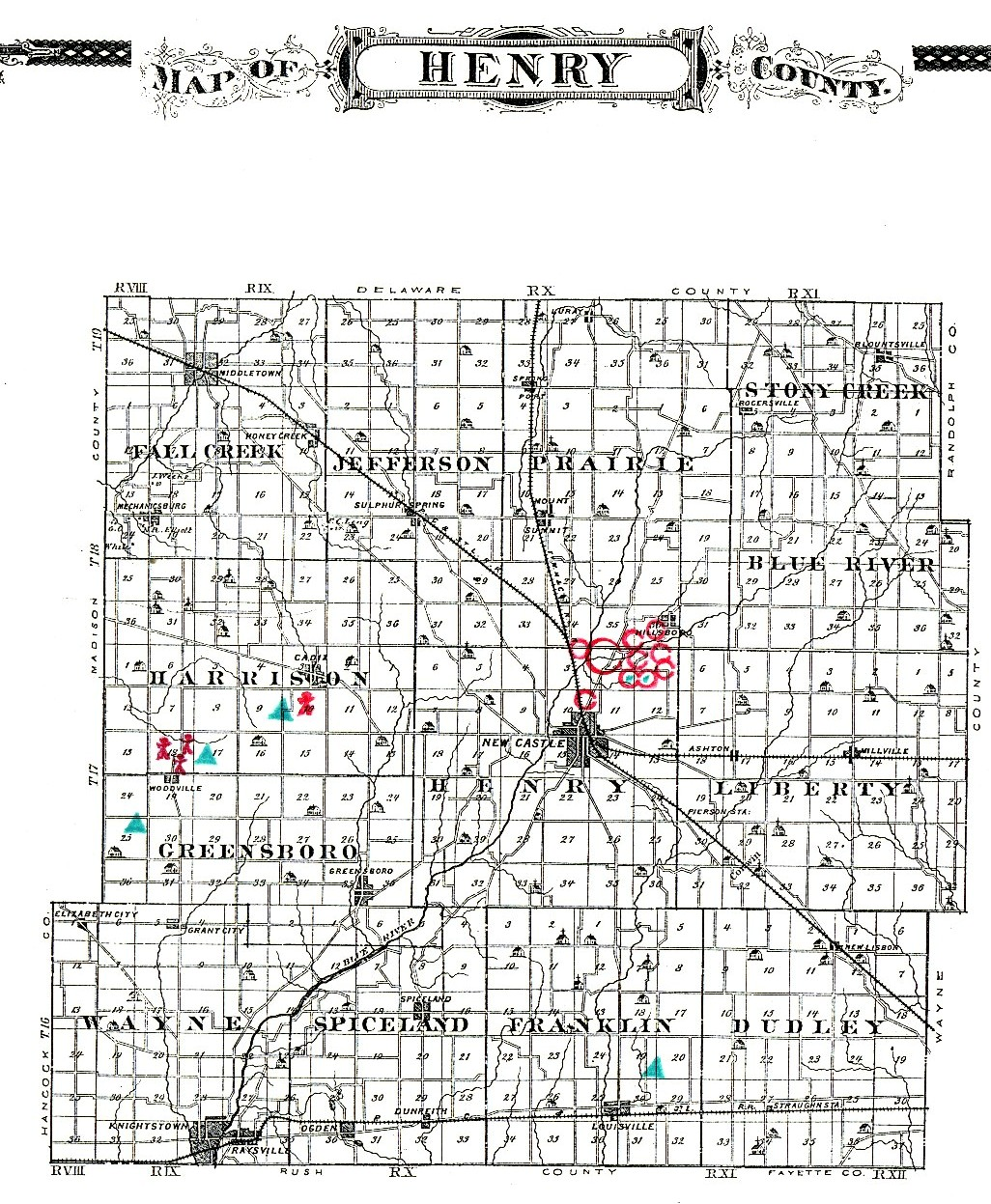 Indiana henry county shirley - Historic Henry County Map Showing Locations Of Burial Mounds And Earthworks In Henry County Indiana With The Exception That The Small Henge At The High
