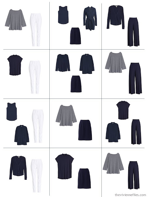 12 outfits from a 10-piece Common Wardrobe in navy and white