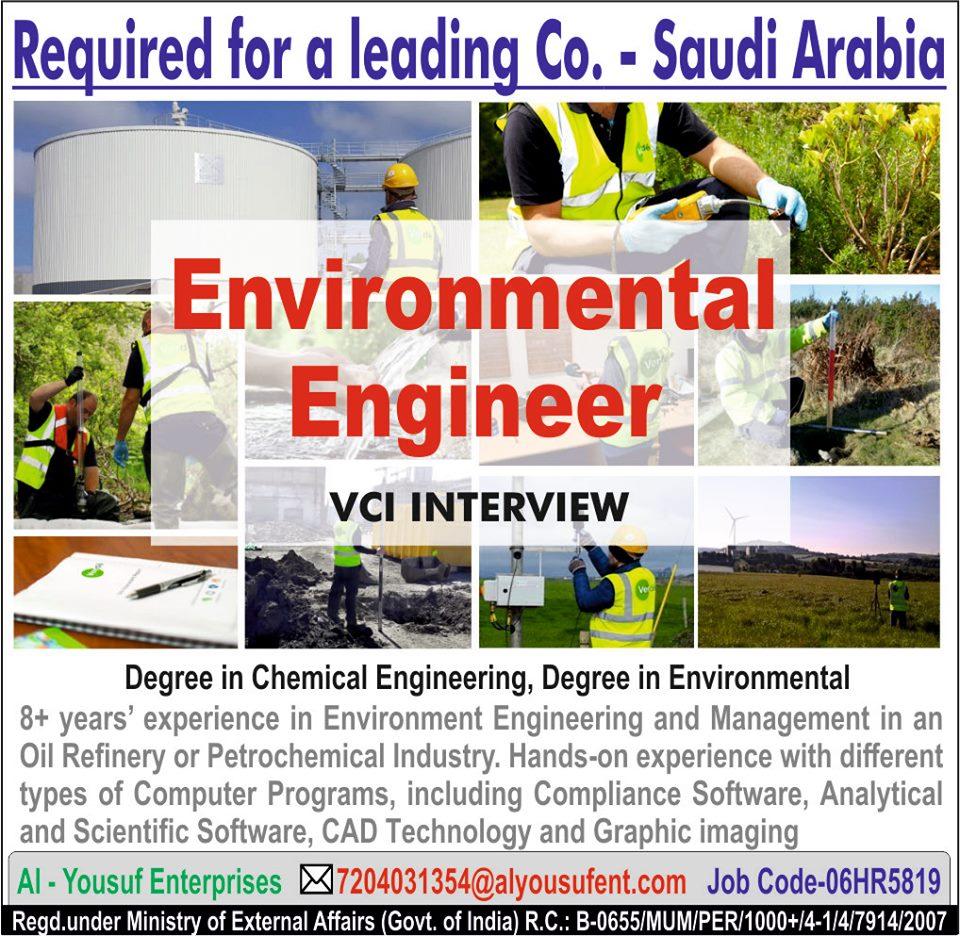 Environmental Engineer Required for Saudi Arabia