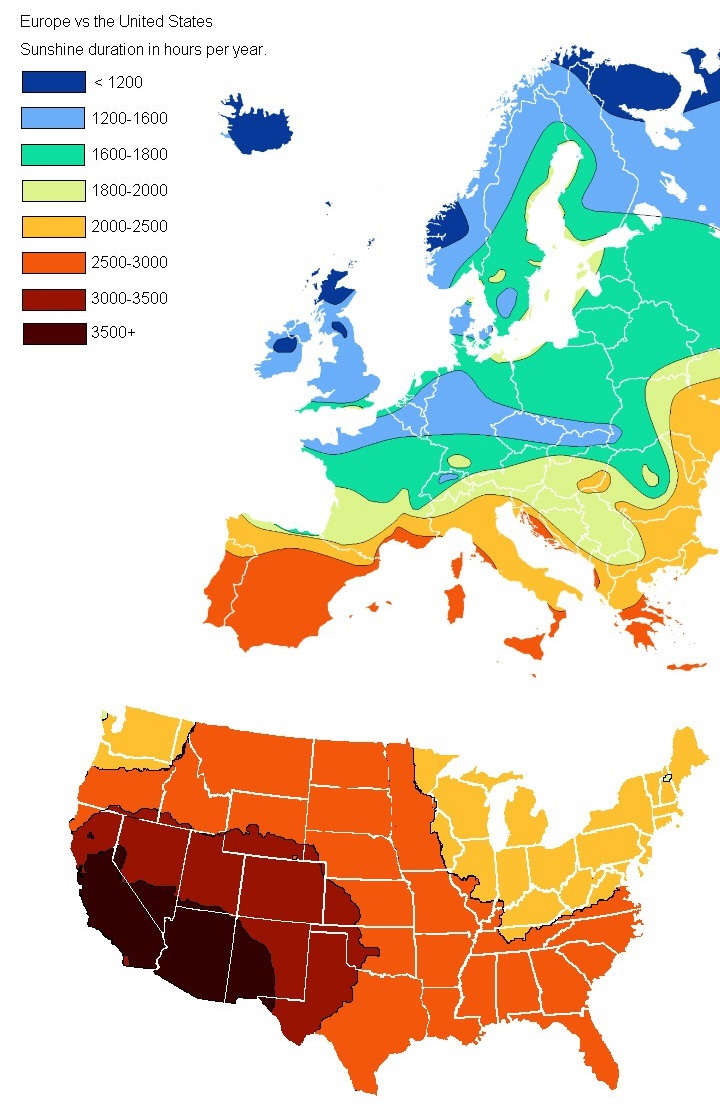 Europe vs. USA: The amount of hours of sunlight each year