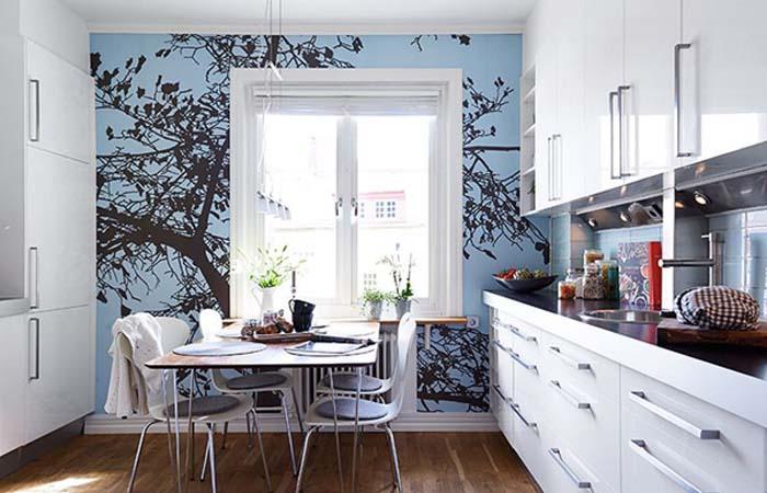 ağaçlı mutfak duvar kağıdı modeli
