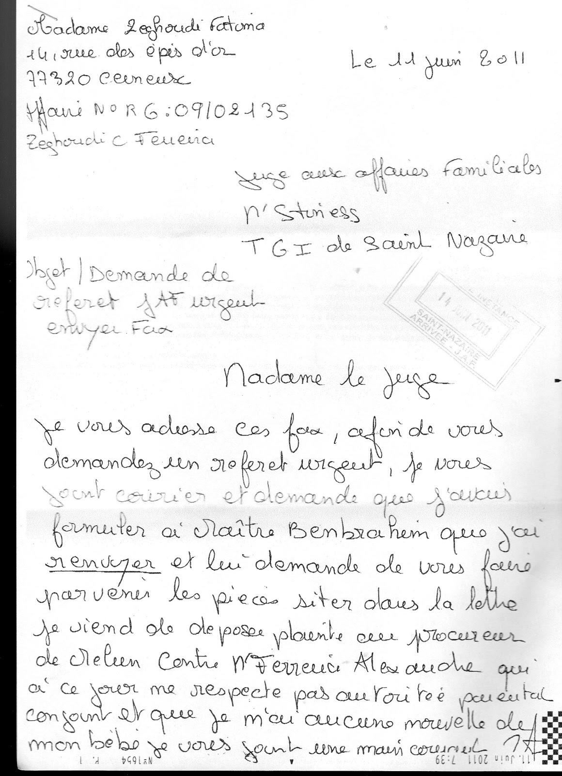formule de politesse lettre pour un juge Juge aux Affaires familiale du TGI de Saint Nazaire 44 et  formule de politesse lettre pour un juge