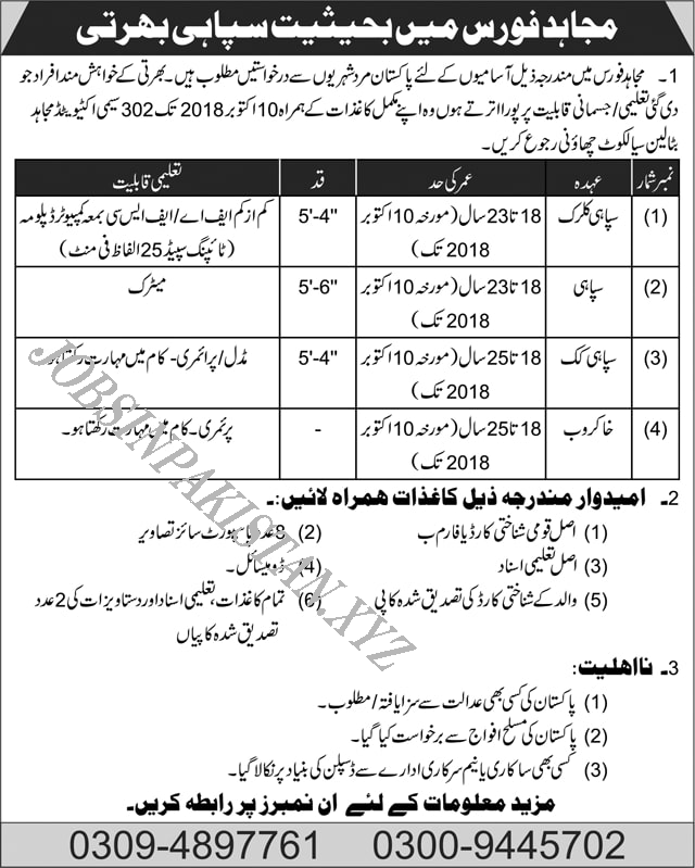 Pakistan Army Jobs 2018 Advertisement