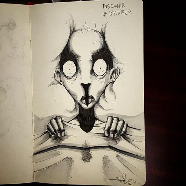 Artista ilustra las enfermedades mentales y los trastornos para Inktober