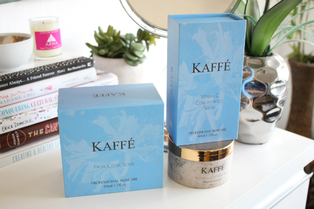 kaffe facial coffee scrub, benefits coffee on skin, kaffe vitamin c concentrated serum, kaffe rejuvenating coffee and salt scrub