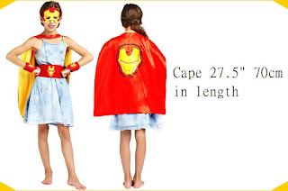 Superhero Iron man Costume Cosplay Cape mask wrist belt set dress up for kids