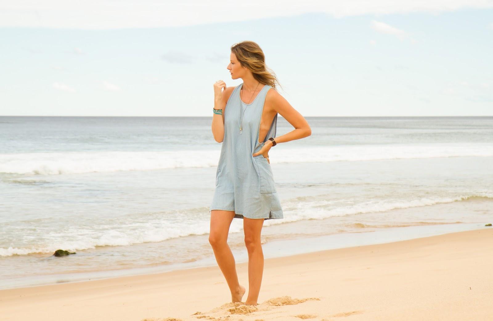 fashion blogger, alison hutchinson, at Garie Beach in Sydney, Australia