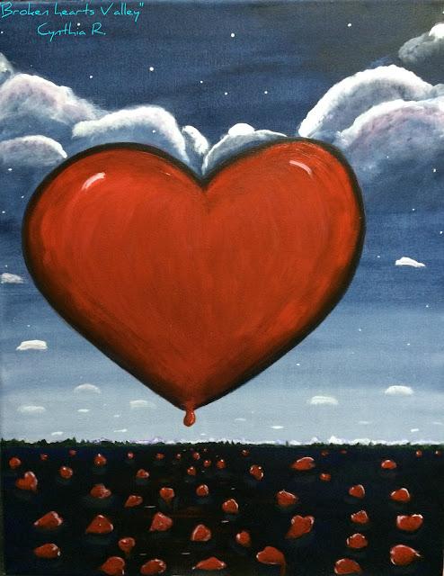 valle de corazones, corazones rojos en un valle, cielo celeste