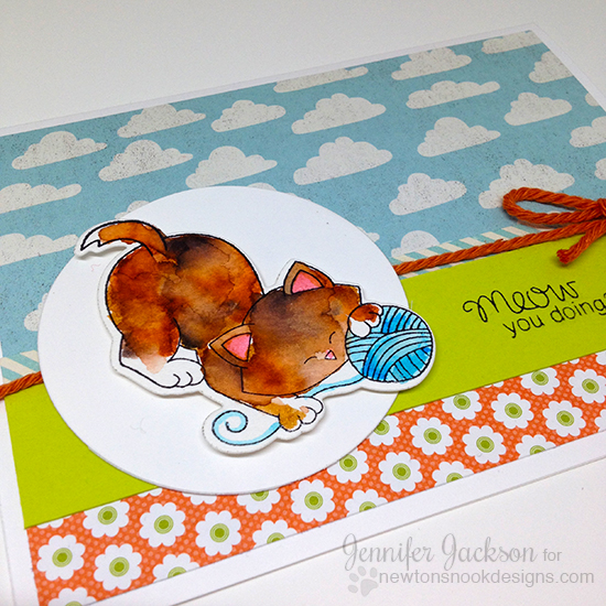 Kitty and yarn cards by Jennifer Jackson | Newton Unwinds Stamp set by Newton's Nook Designs #newtonsnook