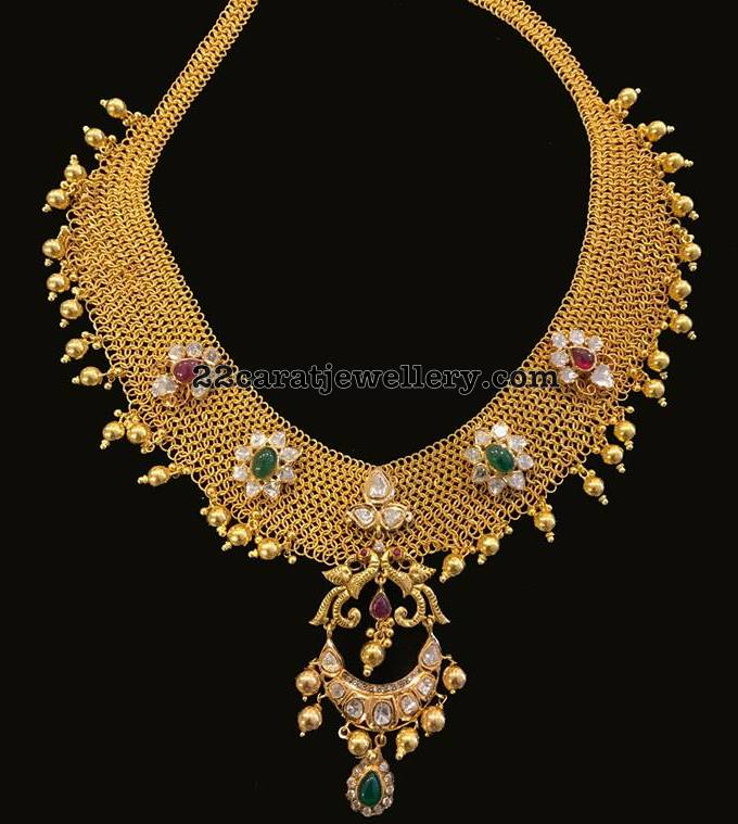 Antique Mesh Necklace with Chandbali Pendant