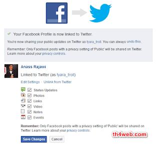 شرح طريقة ربط الفيسبوك بتويتر