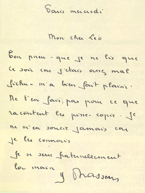 La lettre de Georges Brassens adressée à Léo après le malentendu avec Paris-Match. Brassens écrit: « Ne t'en fais pas pour ce que racontent les pisse-copie»