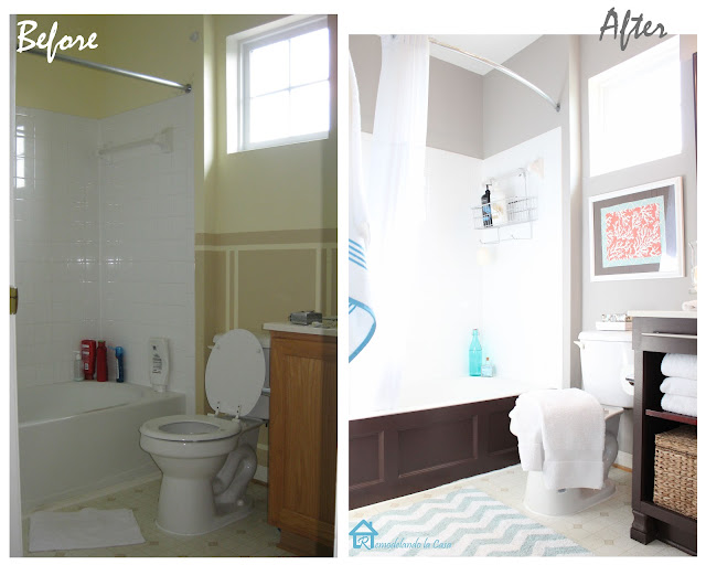 Before and after of bathroom makeover on a budger