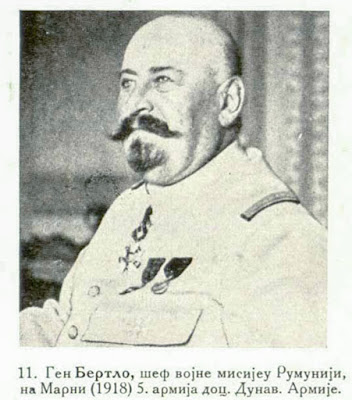General Berthelot, Chief of the Military Mission in Roumania, at the Battle of the Marne (1918) 5th Army, later Danube Army.