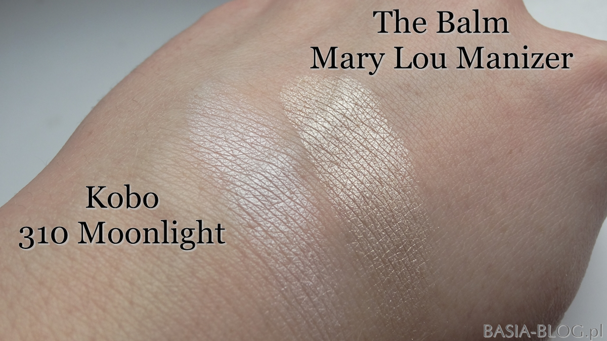 Swatche The Balm Mary Lou Manizer, Kobo 310 Moonlight